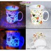 Colorful LED waterproof ceramic cup - Strawberry couples Cup
