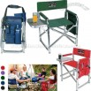 Folding Sports Chair with Fold Out Side Table, Side Pockets & Drink Holder