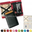 Imitation Leather - Leather Magic Wallet/business Card Case With Four Outside Slots