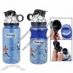 Clear Blue Flip Top Plastic Drinking Water Bottle w Soccer Lid