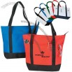 Polyester zippered tote bag with inside pocket and and heavy vinyl backing