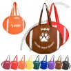 Eco friendly tote made of durable nonwoven poly and shaped like a football
