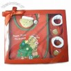 Baby Gift Set with wrist rattle, bib and Pair of Bootie