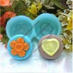 2-Hole Flower And Heart Shape Silicone Cake Mold Mould Cake Pan Handmade Soap Mold