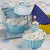 Blue Cupcake Design Candle Favors