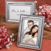 Shiny silver metal beaded design photo/place card frame