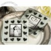 Black White Simply Elegant Wedding Favors Glass Coaster Set