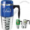 16 oz. solid stainless steel travel mug with comfortable plastic handle