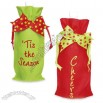 Holiday Linen Wine Gift Bag