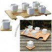 KOOKII FOR 6 Bamboo Coster and White Ceramic Mug