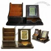 Desktop PU Leather Organizer with Clock