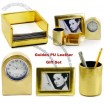 Leather Clock with Pencil Vase Photo Frame Set