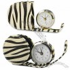Zebras Leather Travel Alarm Clock