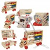 Wooden Multifunction Fancy Toy Car with Abacus, letters, clock
