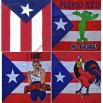 Puerto Rico Flag Bandana Print with Frog/Boricua/Rooster