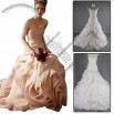 A-line Chapel Train Strapless Peach Collar Drop Waistband Organza Wedding Dress with New Style