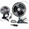 Black 6 Inches Oscillating Car Fan with Clamp Clip