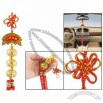 Gold Tone Hollow out Balls Decor Red Chinese Knot Hanging Adorn
