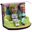 Polyresin Couple In Pajamas On The Couch Bobblehead
