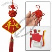 Red Yellow Rrtwork Chinese Knot Characters Beads Decor Counted Cross Stitch
