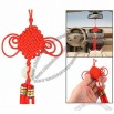 Round Faux Jade Pendant Fringed Tassels Chinese Knot Hanging Ornament Red