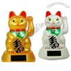 Solar Powered Maneki Neko Lucky Cat White/Gold