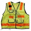 ANSI Class 2 Solid Lime Technical Surveyors Vest, Snap Closure, 11 Pockets, X on Back