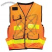 ANSI Class 2 Solid Orange Technical Surveyors Vest, Snap Closure, 11 Pockets, X on Back