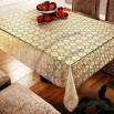 Golden-printed Lace Table Cloth with 100% Vinyl Embossed