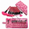 Rose 18PCS Professional Makeup Brush Set Make up Sets Tools with Leather Case