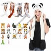 Unisex Plush Warm Animal Hats with Scarf Hand-Warmers