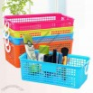 Rectangular Plastic Storage Basket With Ring Handle
