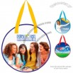 Round shape tote with reinforced handles