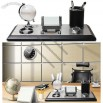 Office Desk Business Gift Set with Crystal Ball and Pen/Card Holder and Clock
