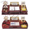 Wooden Base Desk Calendar With Clock, Memo Holder, Mini Drawers, Clip Holder