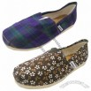 Plaid/Flower Fabric Women's Flat Casual Shoe with EVA Outsole Material