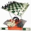 Tournament Chess Set with 3.75 inches King and Vinyl Board with Canvas Loop Tote