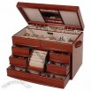 Classic Mahogany Wooden Jewelry Storage Box for Rings, Necklaces, Bracelets, Watches