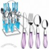 24pcs Stainless Steel Flatware with Plastic Handle