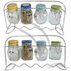 Glass Spice Bottles With Metal Rack