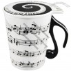Ceramic Mug with Music Note Handle and Lid