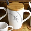 White Ceramic Mug with Wooden Lid