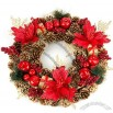 Red Flower and Pinecone Christmas Wreath