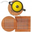 Round and Square Bamboo Wooden Kitchen Potholder Mat Coaster Set