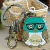 Antique Bronze Plated Alloy Cute Owl Keychains With Epoxy