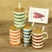 Mediterranean Color Stripes Ceramic Mug with Spoon and Wood Lid