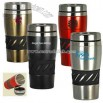 16 oz stainless steel double wall tumbler with rubber grip