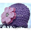 3-6 month Shell Beanie with Flowers