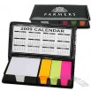 5 piece note pad holder with calendar and sticky flags