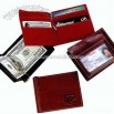 Aniline glazed calfskin leather money clip credit card wallet